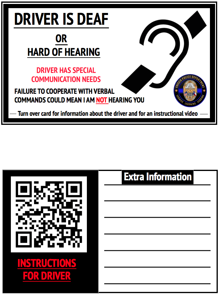 Deaf Placard Front and Back